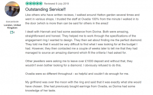 Outstanding Customer review - Ovadia Jewellery