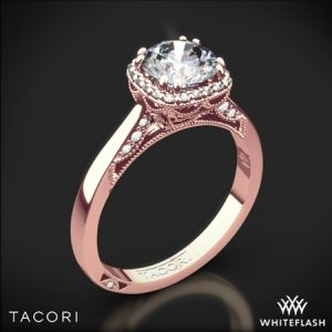 Rose Gold Tacori Dantela Crown Solitaire Engagement Ring