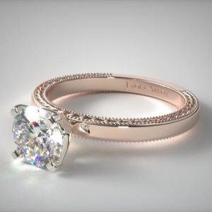 Vintage Rose Gold Engagement Rings with an Etched Profile